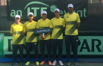 Australia's Junior Davis Cup team led by captain Ben Mathias (far right)