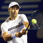 Jordan Thompson in action during his first-round win over Feliciano Lopez in Acapulco; Getty Images