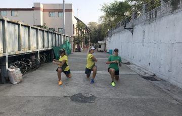 Australia warming up ahead of their victory over Hong Kong