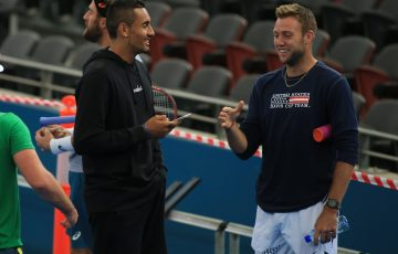 FRIENDLY BANTER: Good friends, and soon-to-be opponents, Nick Kyrgios and Jack Sock were in good spirits as their teams practiced at Pat Rafter Arena; SMP Images