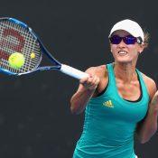 Arina Rodionova of Australia plays a forehand; Getty Images