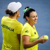 Ash Barty (L) and Casey Dellacqua in doubles action for Australia; photo credit Srdjan Stevanovic