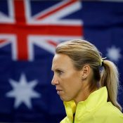 Australian captain Alicia Molik watches on during the doubles rubber; photo credit Srdjan Stevanovic