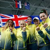 The winning Australian team of (L-R) Destanee Aiava, Daria Gavrilova, Alicia Molik, Ash Barty and Casey Dellacqua; photo credit Srdjan Stevanovic