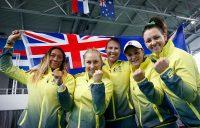 The winning Australian team of (L-R) Destanee Aiava, Daria Gavrilova, Alicia Molik, Ash Barty and Casey Dellacqua; photo credit Srdjan Stevanovic