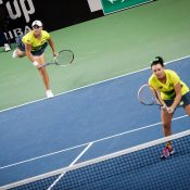 Ash Barty (L) and Casey Dellacqua in doubles action for Australia; photo credit Srdjan Stevanovic