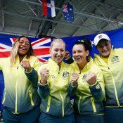 The winning Australian team of (L-R) Destanee Aiava, Daria Gavrilova, Casey Dellacqua and Ash Barty; photo credit Srdjan Stevanovic