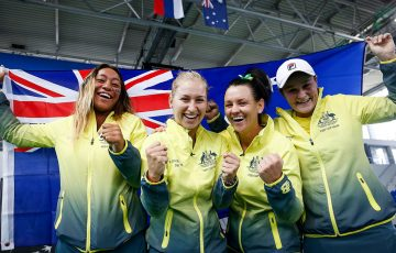 Australia's Fed Cup team of (L-R) Destanee Aiava, Daria Gavrilova, Casey Dellacqua and Ash Barty celebrate a 2017 win in Serbia; photo credit Srdjan Stevanovic