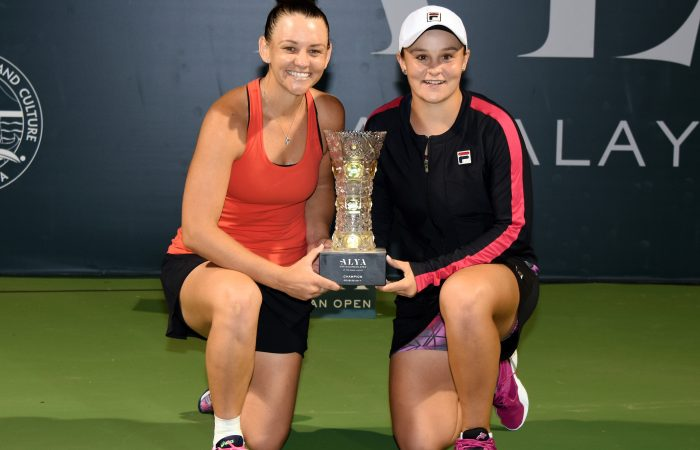 Casey Dellacqua and Ashleigh Barty celebrate their WTA doubles title win in Kuala Lumpur; Getty Images