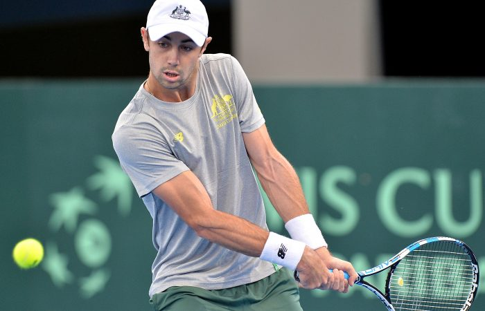 Jordan Thompson during a Davis Cup practice session in Brisbane; Getty Images
