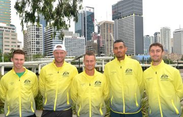 The Australian Davis Cup team, from left, John Peers, Sam Groth, Lleyton Hewitt, Nick Kyrgios and Jordan Thompson in Brisbane; Getty Images