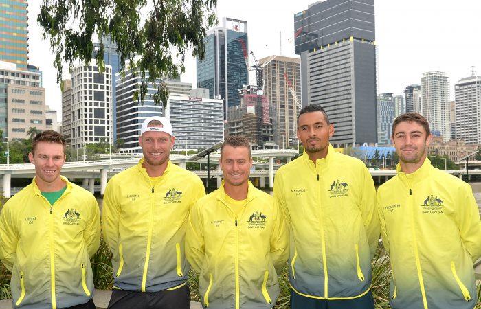 The Australian Davis Cup team, from left, John Peers, Sam Groth, Lleyton Hewitt, Nick Kyrgios and Jordan Thompson in Brisbane; Getty Images