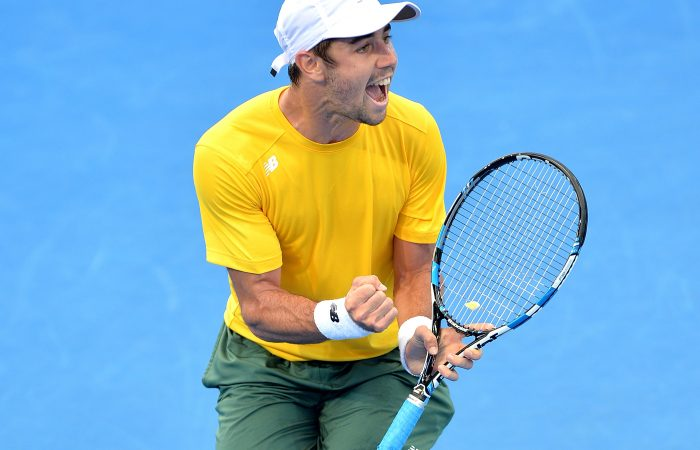HUGE RESULT: Jordan Thompson celebrates a career-best win to give Australian an early lead in the Davis Cup quarterfinal; Getty Images