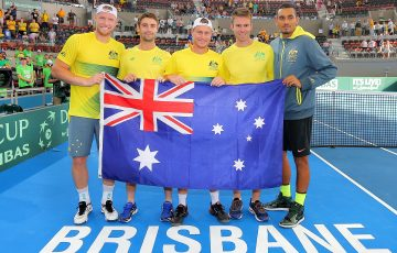 Australia's Davis Cup team of Sam Groth, Jordan Thompson, Lleyton Hewitt, John Peers and Nick Kyrgios celebrate their quarterfinal victory in Brisbane; Getty Images