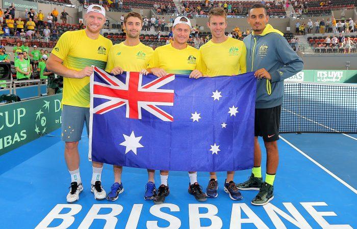 Australia's Davis Cup team of Sam Groth, Jordan Thompson, Lleyton Hewitt, John Peers and Nick Kyrgios celebrate their quarterfinal victory in Brisbane; Getty Images
