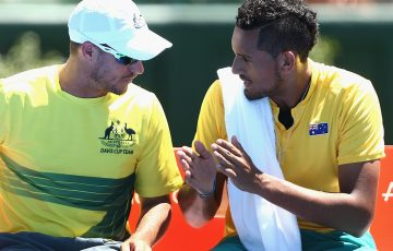 Hewitt believes that Kyrgios' run of form has been sparked by the Davis Cup team. Photo: Getty Images