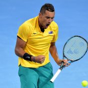 Nick Kyrgios beat John Isner in straight sets. Photo: Getty Images