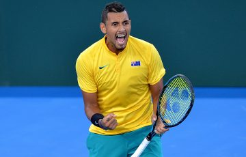 BRISBANE, AUSTRALIA - APRIL 07:  Nick Kyrgios of Australia celebrates winning a point in his match against John Isner of the USA during the Davis Cup World Group Quarterfinals between Australia and the USA at Pat Rafter Arena on April 7, 2017 in Brisbane, Australia.  (Photo by Bradley Kanaris/Getty Images)
