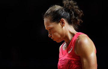 Sam Stosur struggled in a first-round loss to Anastasija Sevastova in Stuttgart; Getty Images