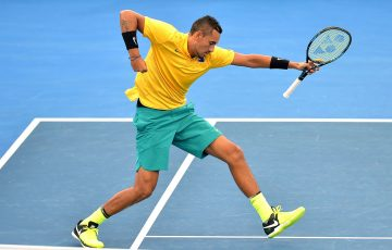 BRISBANE, AUSTRALIA - APRIL 07:  Nick Kyrgios of Australia celebrates winning a point in his match against Sam Querrey of the USA during the Davis Cup World Group Quarterfinals between Australia and the USA at Pat Rafter Arena on April 9, 2017 in Brisbane, Australia.  (Photo by Bradley Kanaris/Getty Images)