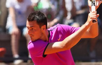 Bernard Tomic in action in the first round of the Rome Masters; Getty Images