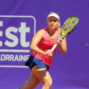 Daria Gavrilova in action at the WTA Internationaux de Strasbourg; (c) ChryslèneCaillaud.com