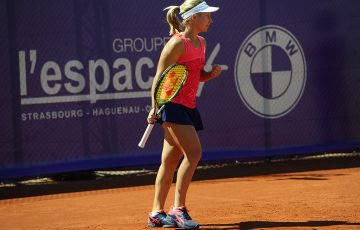 Daria Gavrilova celebrates his first-round victory at the WTA Internationaux de Strasbourg; (c)Chryslène Caillaud.com