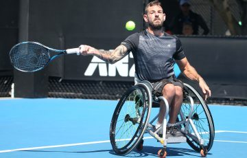 MELBOURNE, AUSTRALIA - JANUARY 25:  Heath Davidson of Australia plays a forehand in his Quad Wheelchair match against Dylan Alcott of Australia during the Australian Open 2017 Wheelchair Championships at Melbourne Park on January 25, 2017 in Melbourne, Australia.  (Photo by Pat Scala/Getty Images)