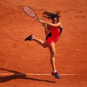 Jaimee Fourlis fires a backhand in her three-set battle with Caroline Wozniacki; Getty Images