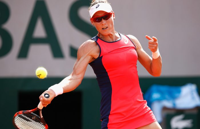 Sam Stosur lines up a forehand in her first round win at Roland Garros; Getty Images