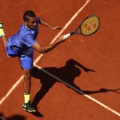 Nick Kyrgios downed Philipp Kohlschreiber in straight sets in the first round of the French Open. Photo: Getty Images
