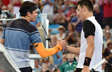 Milos Raonic (L) and Bernard Tomic; Getty Images