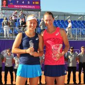 Sam Stosur (R) and Daria Gavrilova pose with their trophies after their Internationaux de Strasbourg final epic; (c) ChryslèneCaillaud.com