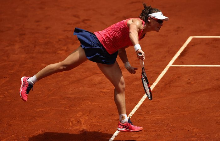 Sam Stosur serves en route to victory over Mariana Duque-Marino in the second round of the Mutua Madrid Open; Getty Images
