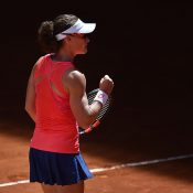 Sam Stosur celebrates her first-round thumping of Sara Sorribes Tormo in Madrid; Getty Images