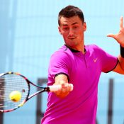 Bernard Tomic fell to Ryan Harrison in three sets in the first round of the Mutua Madrid Open; Getty Images