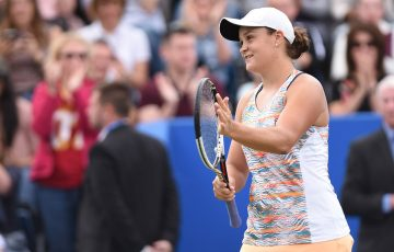 Ash Barty celebrates her semifinal victory over Garbine Muguruza at the Aegon Classic in Birmingham; Getty Images