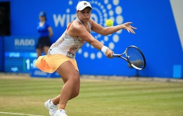 Ash Barty in action during her second-round win over Barbora Strycova in Birmingham; Getty Images