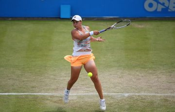 Ash Barty plays a forehand en route to her second-round victory over Jana Fett in Nottingham; Getty Images for British Tennis