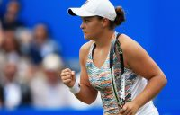Ash Barty reacts during her semifinal victory against Garbine Muguruza in Birmingham; Getty Images
