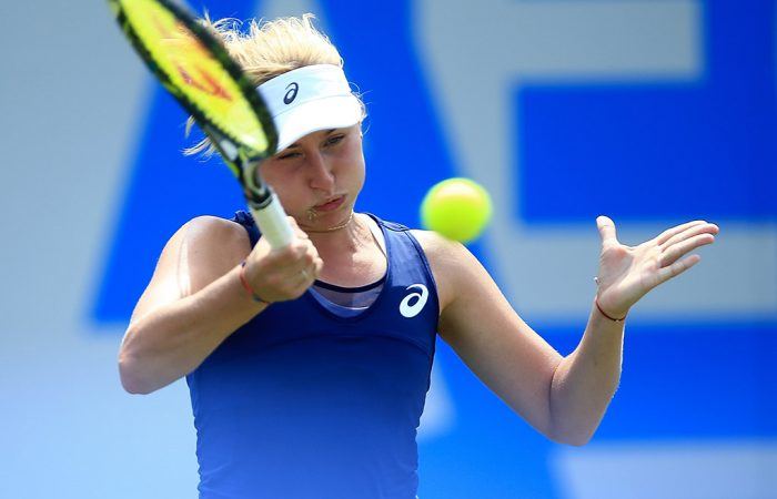 Daria Gavrilova in action during her second-round victory over Katerina Siniakova at the Aegon Classic in Birmingham; Getty Images