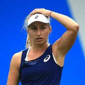 Daria Gavrilova reacts during her three-set loss to Lucie Safarova in the Birmingham quarterfinals; Getty Images