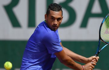 FOCUSED: Nick Kyrgios in his first round win at Roland Garros 2017; Getty Images