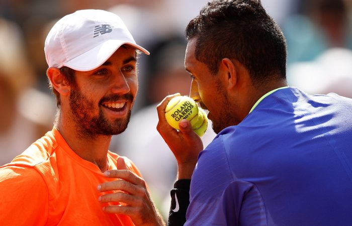GOOD FORM: Jordan Thompson and Nick Kyrgios discuss tactics during a first round doubles win at Roland Garros; Getty Images