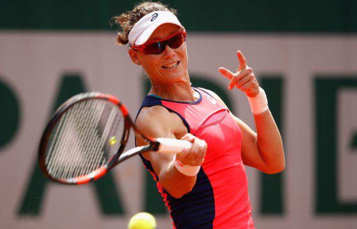 Sam Stosur during her Roland Garros fourth round loss; Getty Images