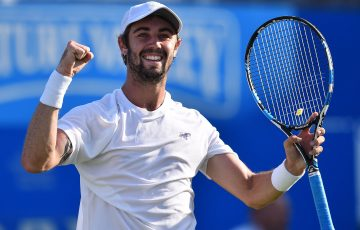 CAREER-BEST WIN: Jordan Thompson celebrates defeating world No.1 Andy Murray; Getty Images