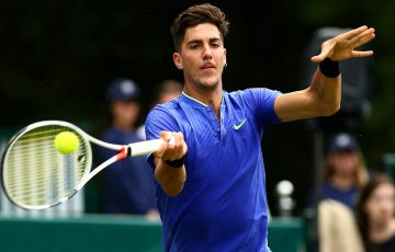Thanasi Kokkinakis in action at The Boodles exhibition event; Getty Images