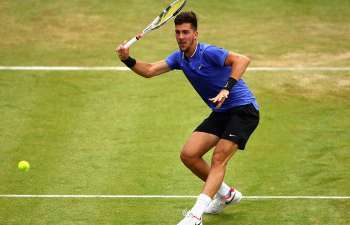 Thanasi Kokkinakis in action during his second-round loss to Daniil Medvedev at the Aegon Championships at Queen's Club; Getty Images