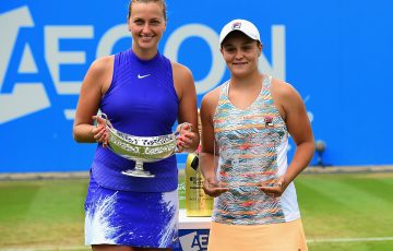 Petra Kvitova (L) beat Ash Barty in three sets in the final of the Aegon Classic in Birmingham; Getty Images
