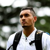Nick Kyrgios arrives for an exhibition match at The Boodles; Getty Images